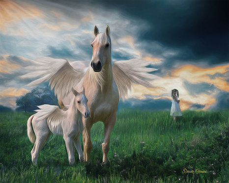 Field of Dreams Pegasus and Child Digital Oil Fantasy Painting
