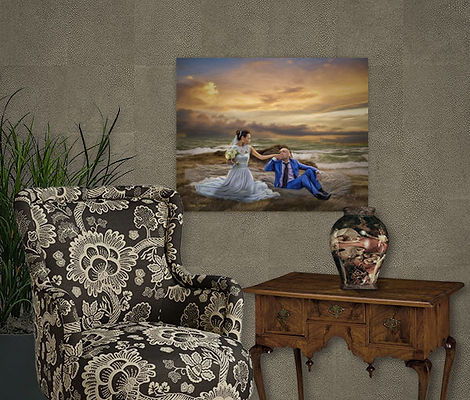 Ocean Sunset Custom Wedding Portrait Painting