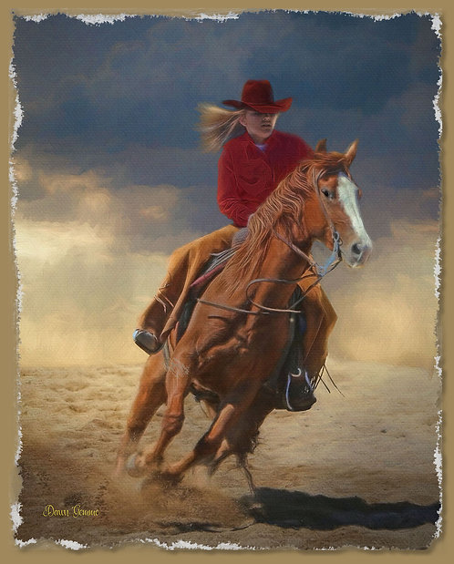 Cowgirl Riding The Storm Digital Oil Painting