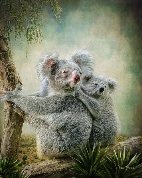 Koala Bear Mama and Baby Digital Oil Wildlife Painting