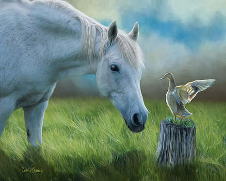 Duck and Horse Friends Digital Oil Painting