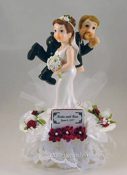Keeping Your Promises Funny Bride and Groom Customized Wedding Cake Topper