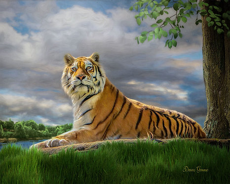 Regal Tiger Exotic Wildlife Digital Oil Painting