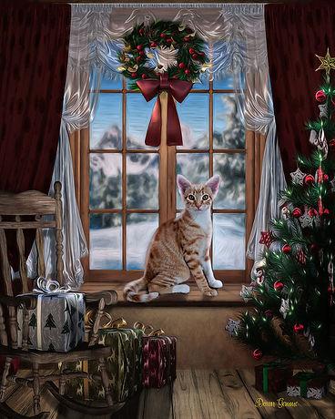 Christmas Window Custom Pet Portrait Painting