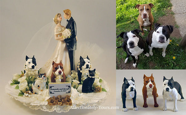 Custom Bride Groom Dogs Cats Wedding Cake Topper