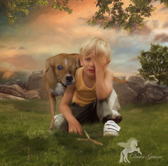 Just Like Me Boy - Dog Digital Oil Story Art
