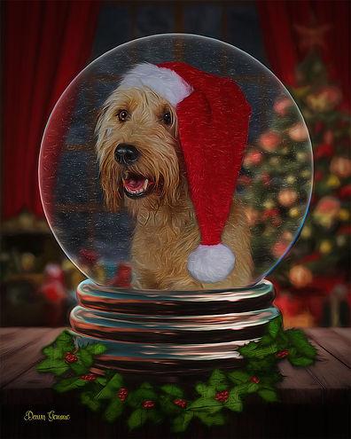 Custom Pet Holiday Portrait Painting