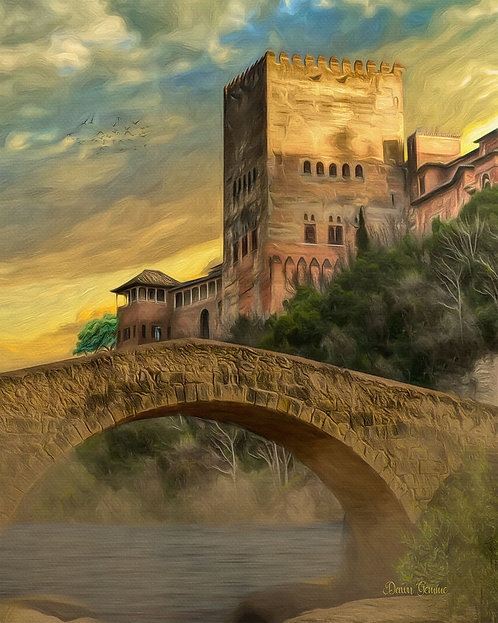 Medieval Castle and Stone Bridge Digital Oil Painting