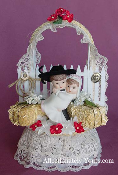 Style C Hillbilly Redneck Bride and Cowboy Groom Customized Wedding Cake Topper