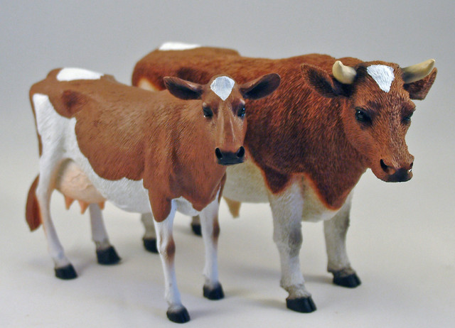 Guernsey Cow and Bull Figurines