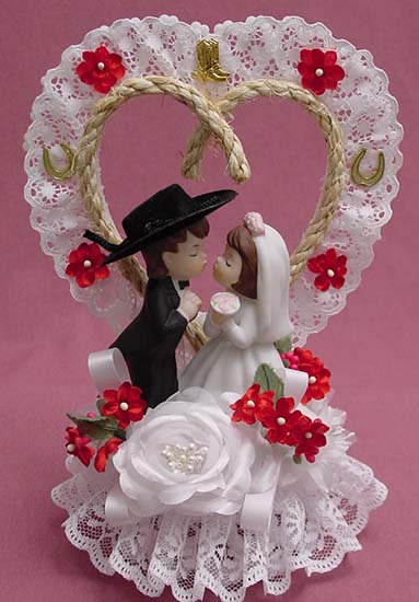 Country HoDown Hillbilly Redneck Bride - Cowboy Groom Custom Wedding Cake Topper