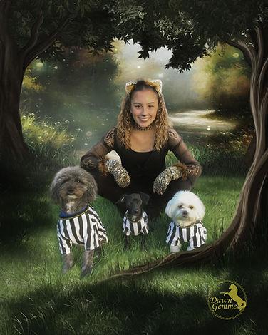 Custom Girl and Dogs Portait Artwork
