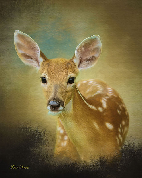 Peeking Fawn Wildlife Digital Oil Painting
