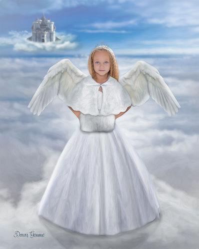 Angel on a Cloud Custom Girl Child Fairytale Portrait