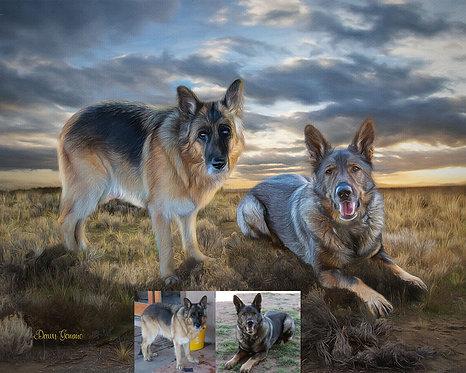 Fantasy Scene Custom Pet Portrait Painting -Dog - Cat - Horse