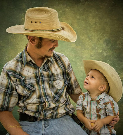 Cowboy and Son Custom Oil Portrait