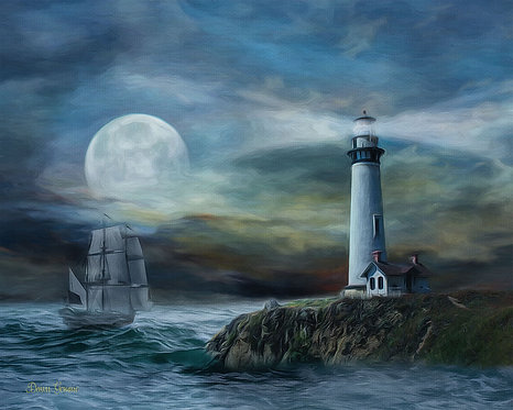 Pirate Ghost Ship and Lighthouse Digital Oil Painting