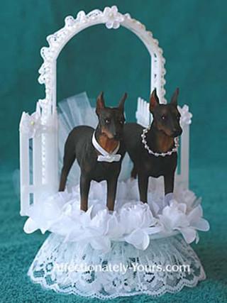 Doberman Bride Groom Wedding Cake Topper