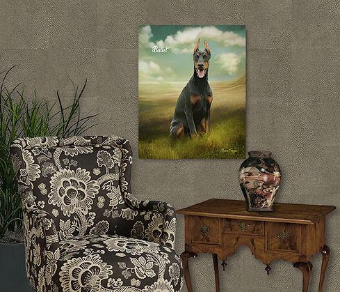 Golden Landscape Custom Pet Oil Portrait