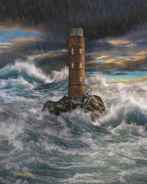 Stormy Seas Lighthouse Digital Oil Painting