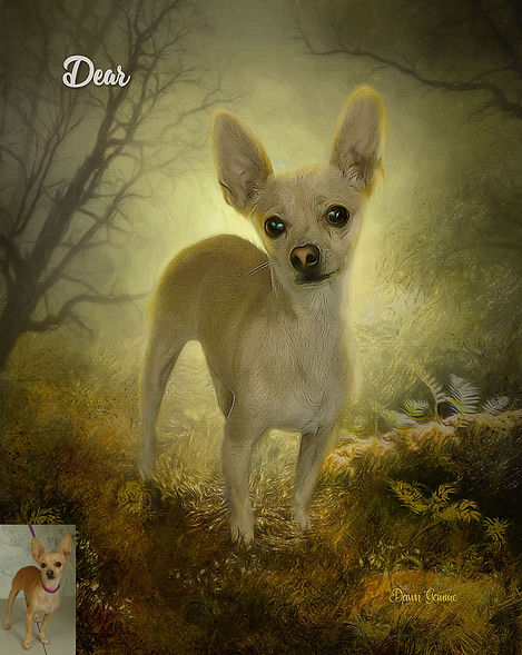Autumn Brown Custom Digital Paint Dog Po