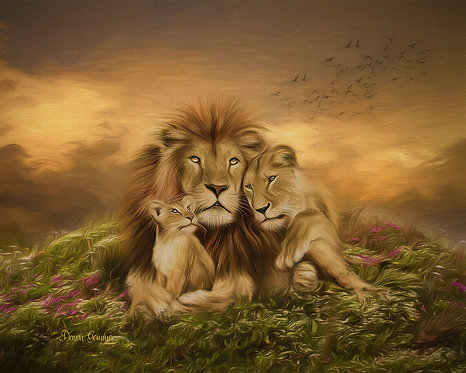 Pride Lion Family Fantasy Wildlife Digital Oils Painting
