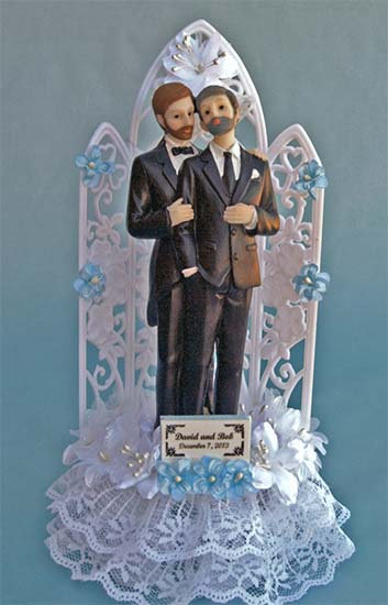 Commitment Two Grooms Same Gender Customized Wedding Cake Topper
