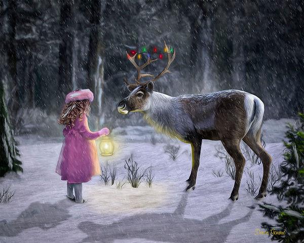 Custom Holiday Child and Reindeer Fantasy Portrait
