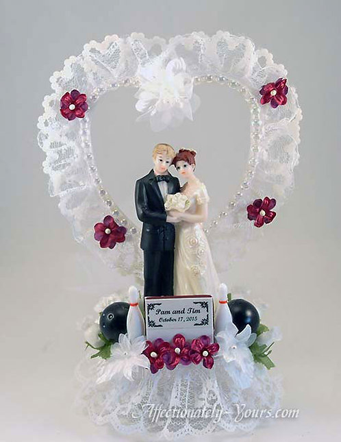 Perfect Score Bowling Theme Bride and Groom Customized Wedding Cake Topper