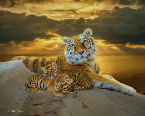 Serenity Tiger and Cubs Wildlife Digital Oil Painting