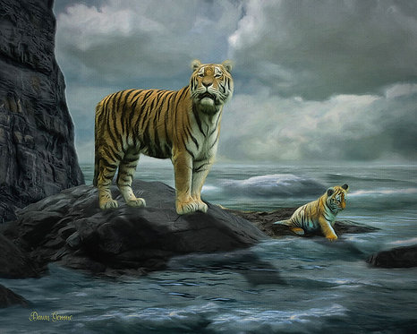Wild Seas Tiger and Cub Wildlife Digital Oil Painting