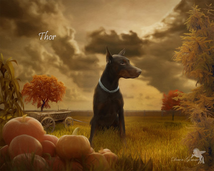 Country Autumn Custom Pet Portrait Painting