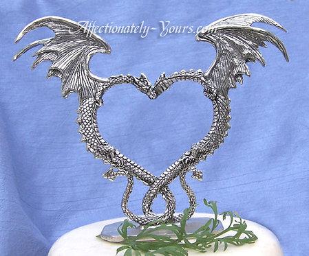Pewter Dragon Heart Wedding Cake Topper