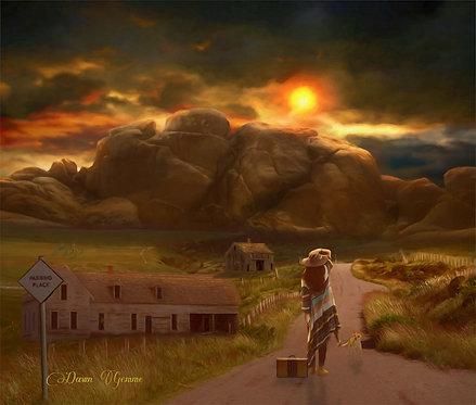 Leaving Nowhere Deserted Landscape Digital Oil Painting