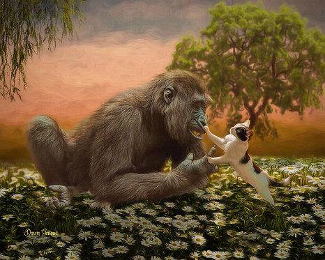 Gorilla and Kitten Playmates Digital Oil Wildlife Painting
