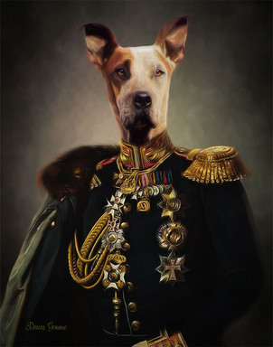 Military Period Style Custom Pet Portrait Painting
