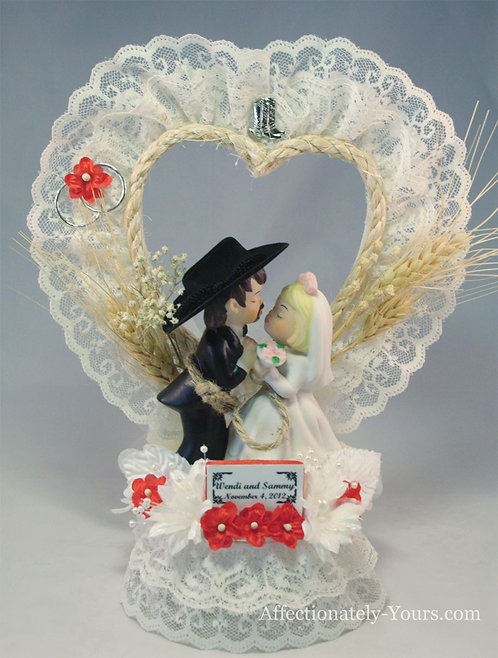 Western Roundup Hillbilly Redneck Bride Cowboy Groom Custom Wedding Cake Topper