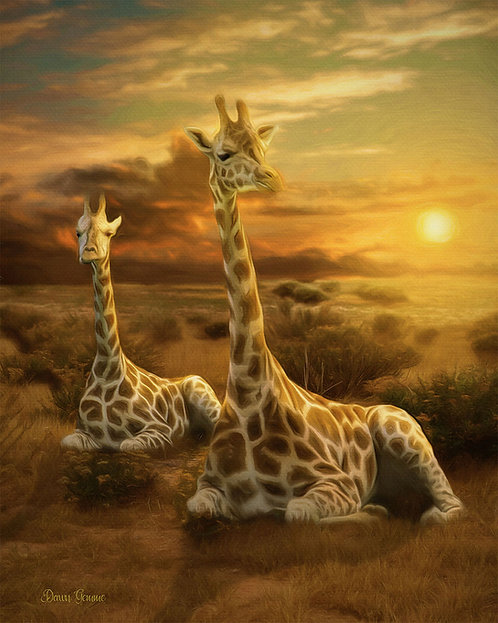 Giraffe Duo Digital Oil Wildlife Painting