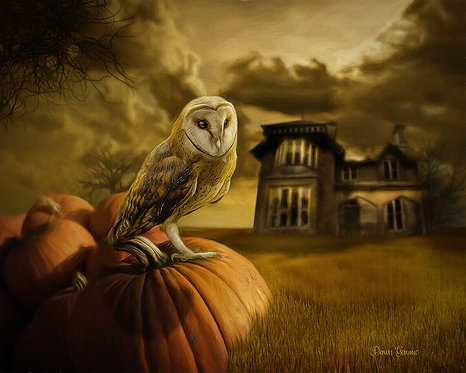 Autumn Field Owl and Haunted House Digital Oil Painting