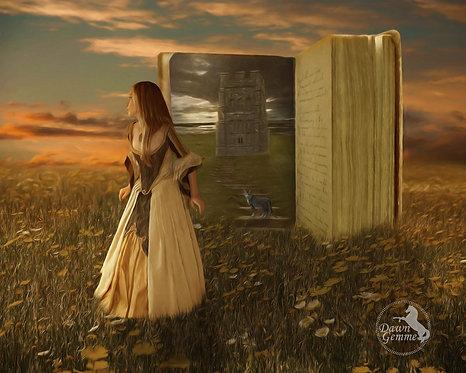 Dark Fairytale Princess Book Fantasy Digital Oil Painting