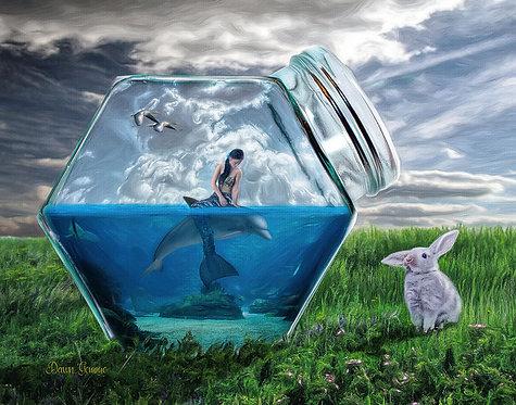 Sea World Mermaid - Dolphin Child Digital Oil Fantasy Painting