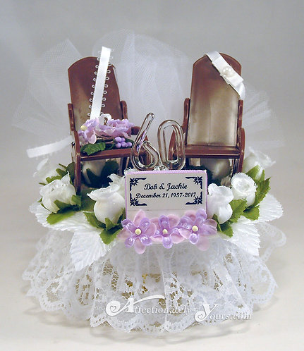 Rocking Chairs Customized Anniversary Cake Topper