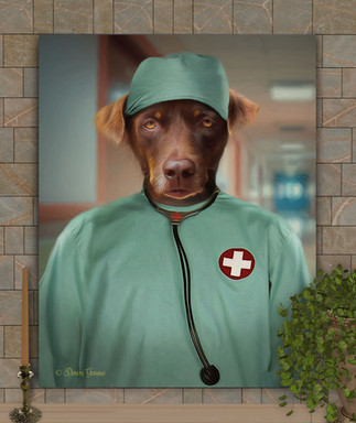 Doctor - Nurse Costume Custom Pet Portait Painting