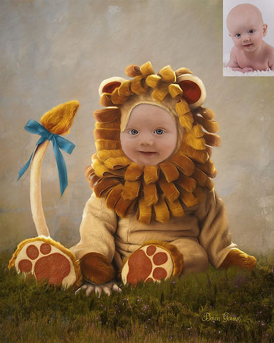 Baby Lion Custom Child Fairytale Portrai