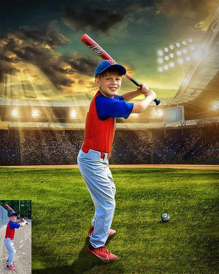 Custom Child Baseball Sport Portrait Pai