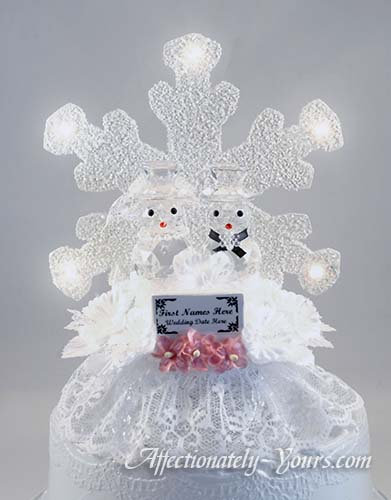 Snowman Bride and Groom Customized Wedding Cake Topper