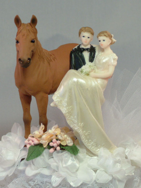 Bride and Groom with Horse Wedding Cake Topper