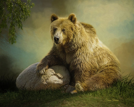 Relaxed Grizzly Bear Wildlife Digital Oil Painting