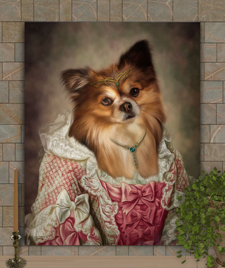 Debutante In Pink Custom Period Style Pet Portrait Painting