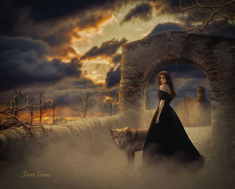 Nightfall Medieval Sunset Fantasy Digital Painting